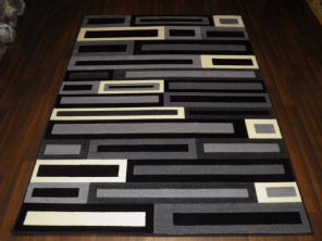 Modern 7x5ft 150x210cm Woven Backed blocks Rug Top Quality  BARGAINS Grey/Black